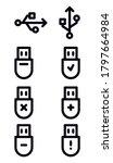 usb device icon set. isolated...