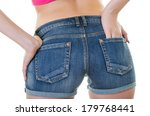 rear view of denim shorts on a... | Shutterstock . vector #179768441