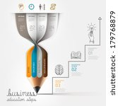 Business education pencil Infographics step option. Vector illustration. can be used for workflow layout, banner, diagram, number options, step up options, web design.