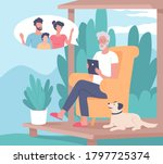 old man talking with his kids... | Shutterstock .eps vector #1797725374