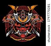 samurai helmet with oni mask... | Shutterstock .eps vector #1797770281