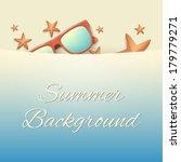 sandy hot beach with starfish... | Shutterstock .eps vector #179779271