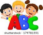 school kids with abc | Shutterstock .eps vector #179781551