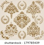set of vector damask ornaments. ... | Shutterstock .eps vector #179785439