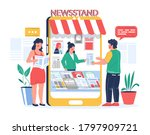 Man buying and woman reading newspaper magazine online in mobile phone newsstand, vector flat illustration. Digital newsstand concept with male and female cartoon characters news readers.