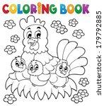 coloring book chicken theme 1   ... | Shutterstock .eps vector #179792885