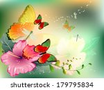 flowers with butterfly | Shutterstock .eps vector #179795834