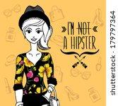 hipster girl. fashion geek... | Shutterstock .eps vector #179797364