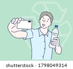 young man doing selfies in his... | Shutterstock .eps vector #1798049314