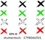 x mark set of different crosses....   Shutterstock .eps vector #1798066501