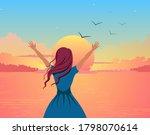 girl joyfully greets sunset... | Shutterstock .eps vector #1798070614