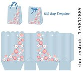 blue gift bag template with... | Shutterstock .eps vector #179812889
