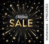 christmas sale. golden stars ... | Shutterstock .eps vector #1798135321