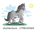 Happy Gray Clydesdale Horse In...