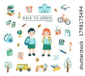 back to school concept in cute...   Shutterstock .eps vector #1798175494