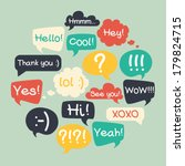 trendy speech bubbles set in