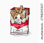 Cartoon Cat In Cigarette Box...