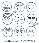 vector set of hand drawn faces  ... | Shutterstock .eps vector #179826941