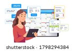 business woman planning day... | Shutterstock .eps vector #1798294384