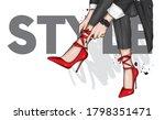 long slender legs in tight... | Shutterstock .eps vector #1798351471