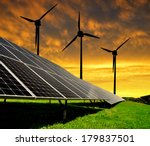solar energy panels with wind... | Shutterstock . vector #179837501