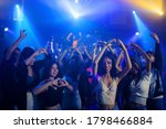 Asian Young Woman With Crowd Of ...