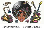 funk music set. color graphics... | Shutterstock .eps vector #1798501261