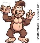 happy brown cartoon gorilla... | Shutterstock .eps vector #1798535134