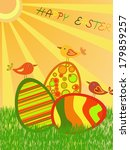 easter eggs on colorful... | Shutterstock . vector #179859257