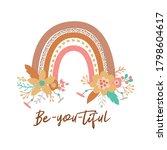 floral rainbow tribal boho chic ... | Shutterstock .eps vector #1798604617