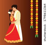 south indian wedding couple... | Shutterstock .eps vector #1798611364