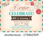 vintage airmail birthday card... | Shutterstock .eps vector #179862509