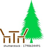 icon of park seat and pine tree....
