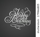 happy birthday hand lettering ... | Shutterstock .eps vector #179866805