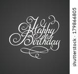 happy birthday hand lettering ... | Shutterstock .eps vector #179866805
