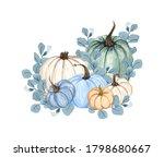 Watercolor Pumpkin Composition  ...
