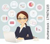 cute businesswoman in office... | Shutterstock .eps vector #179876135