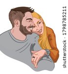 happy couple hugging and... | Shutterstock .eps vector #1798785211