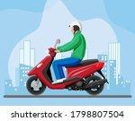 man on motor scooter. urban...   Shutterstock .eps vector #1798807504