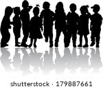 group of children's silhouettes  | Shutterstock .eps vector #179887661