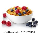 bowl of corn flakes and fresh... | Shutterstock . vector #179896061