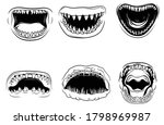 Set Of Sharks With Open Mouth....