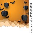 black 3d paper pumpkins and... | Shutterstock .eps vector #1799013754