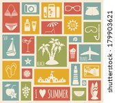 summer holiday card with flat... | Shutterstock .eps vector #179903621