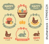 set of cute colorful easter... | Shutterstock .eps vector #179905124