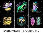 skateboard shop stickers set....   Shutterstock .eps vector #1799092417