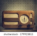 antique radio on retro... | Shutterstock . vector #179923811
