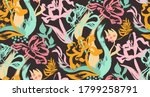 seamless pattern with tulips... | Shutterstock . vector #1799258791