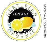 certified organic lemons stamp | Shutterstock . vector #179926634