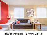 modern red living room interior ... | Shutterstock . vector #179932595